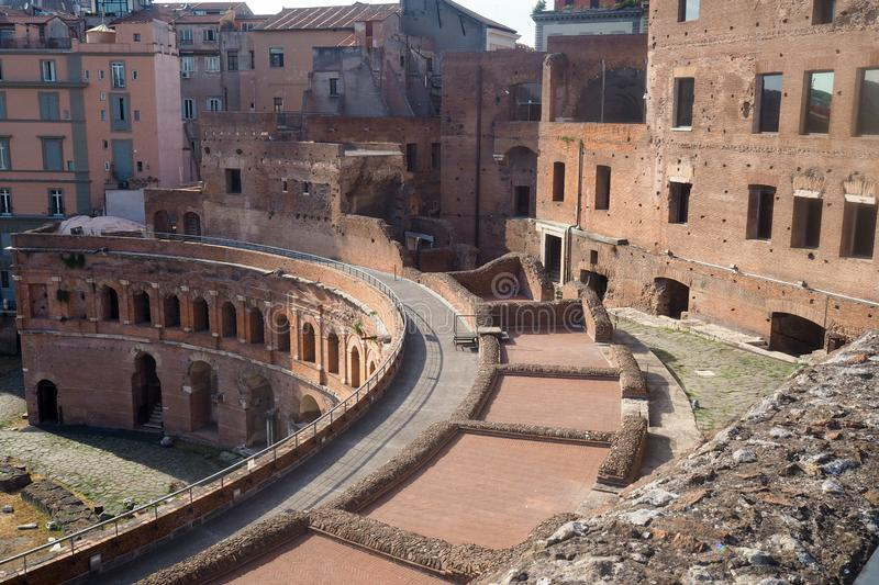 The complex of the Trajan's market in Rome, Italy stock photos