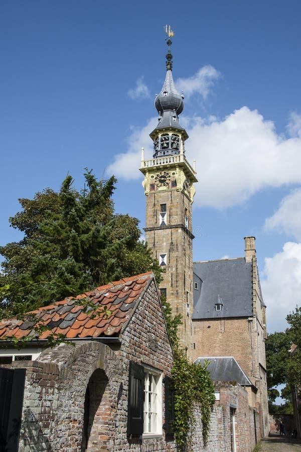Complexe d'abbaye avec sa tour Lange Jan Middelburg Zeeland Nether photographie stock