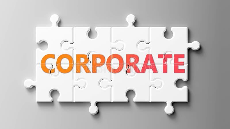 Complexe d'entreprise comme un casse-tête - représenté par un mot Corporate sur un puzzle pièces pour montrer que Corporate peut  illustration stock