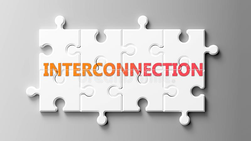 Complexe d'interconnexion comme un puzzle - représenté par un mot Interconnexion sur un puzzle pour montrer qu'il peut être diffi illustration de vecteur