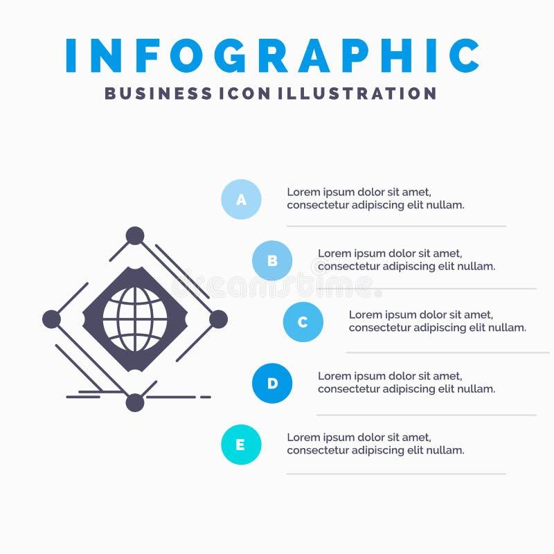 Complexe, global, Internet, filet, calibre d'Infographics de Web pour le site Web et présentation Ic?ne grise de GLyph avec infog illustration stock