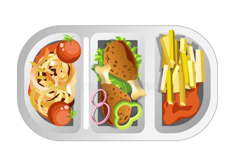 Complexe lunch in plastic die schotel uit fastfood wordt samengesteld stock illustratie