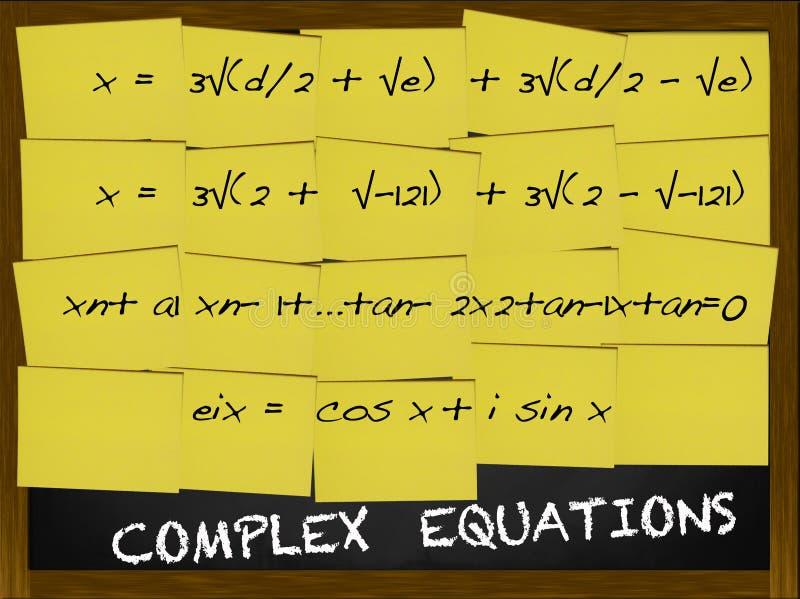 Complexe Vergelijking die op gele nota's wordt geschreven stock afbeeldingen