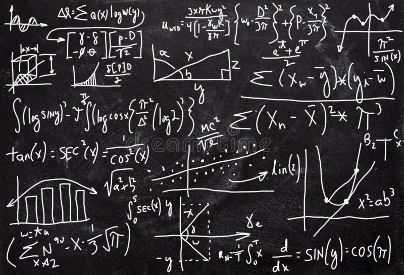Complexe Wiskunde, Rekenkunde, Bordachtergrond royalty-vrije illustratie
