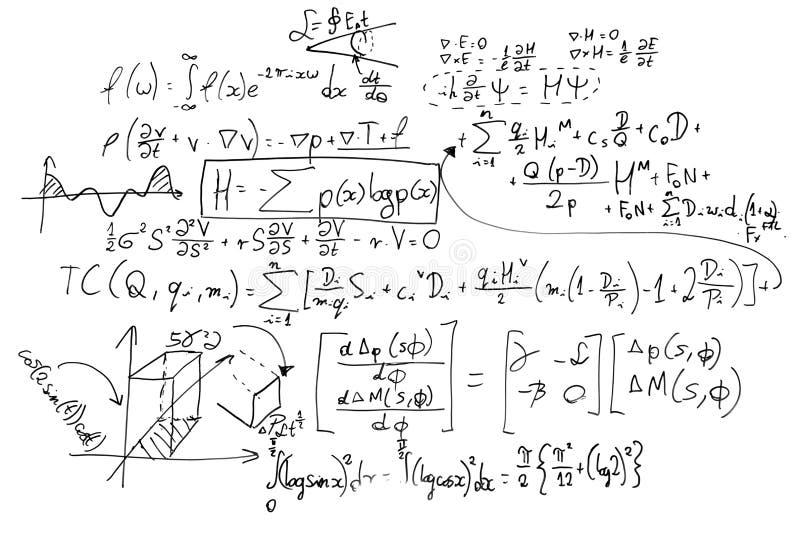 Complexe wiskundeformules op whiteboard Wiskunde en wetenschap met economie