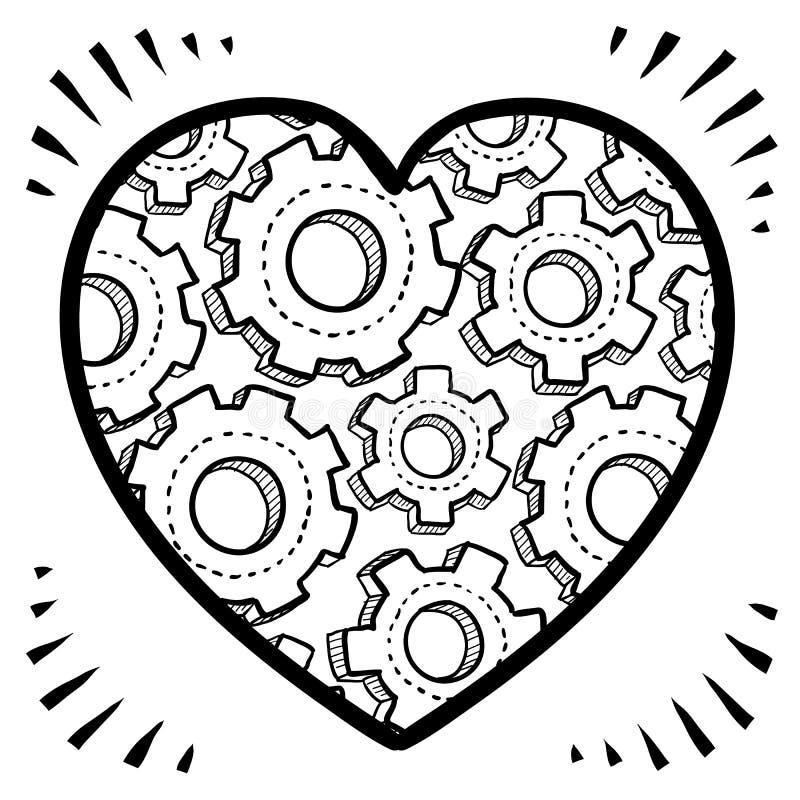 Complexités de croquis d'amour illustration stock