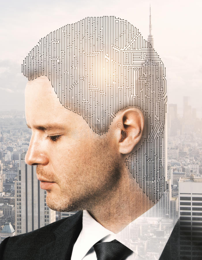 Complexity concept. Digital labyrinth headed businessman on bright New York city background. Complexity concept. Double exposure royalty free stock image