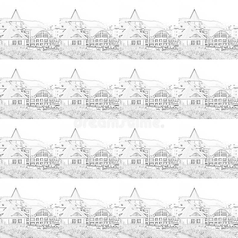 Complexo da recreação de contornos pretos em um fundo branco ilustração stock