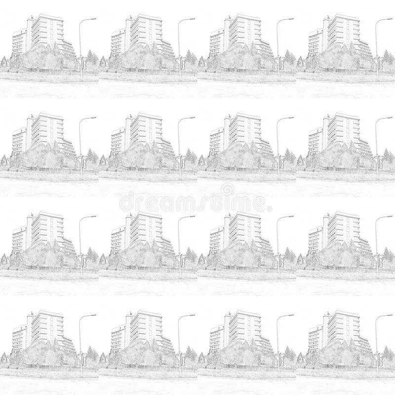 Complexo da recreação de contornos pretos em um fundo branco ilustração royalty free