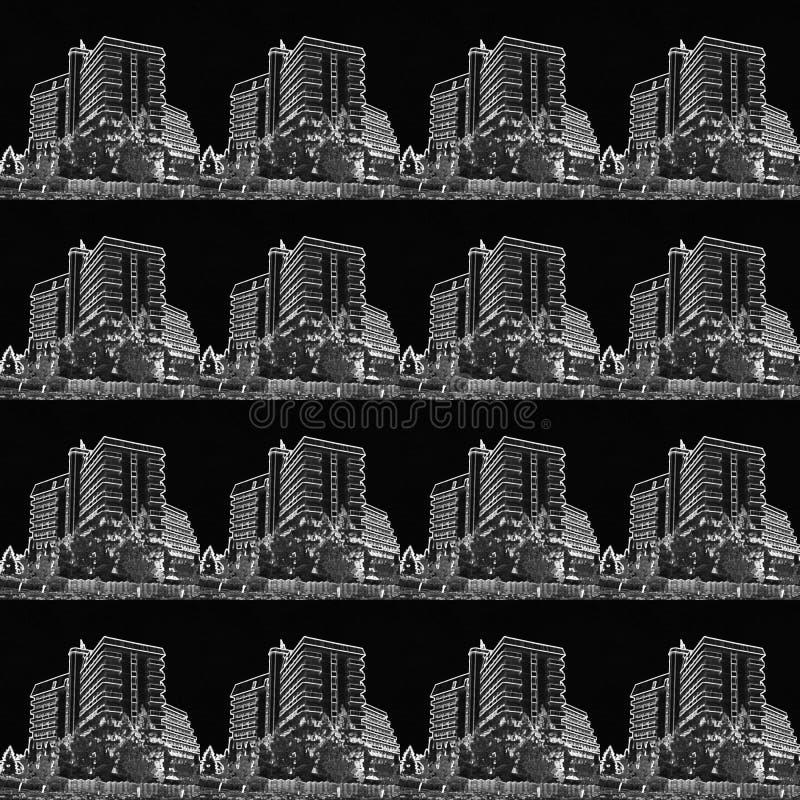 Complexo da recreação dos contornos brancos em um fundo preto para imprimir ilustração stock