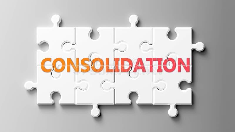 Complexo de consolidação como um quebra-cabeça - retratado como palavra Consolidação em um quebra-cabeça para mostrar que Consoli ilustração stock