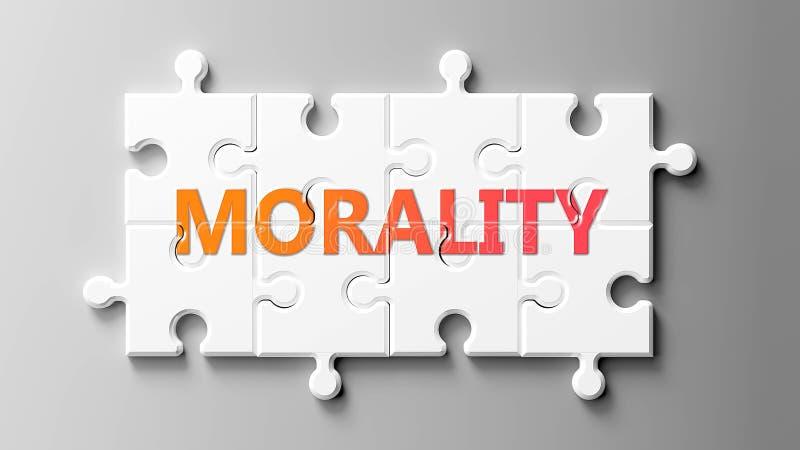 Complexo de moralidade como um puzzle - retratado como palavra Moralidade em peças de puzzle para mostrar que a Moralidade pode s ilustração royalty free