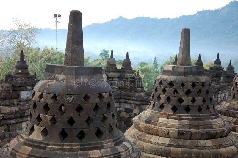 Complexo do templo de Borobudur fotos de stock royalty free