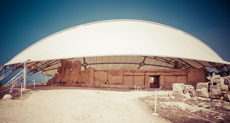 Complexo do templo de Megalitic - Hagar Qim em Malta fotos de stock royalty free