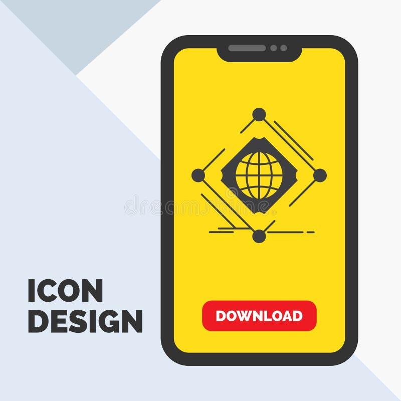 Complexo, global, Internet, rede, ícone do Glyph da Web no móbil para a página da transferência Fundo amarelo ilustração stock