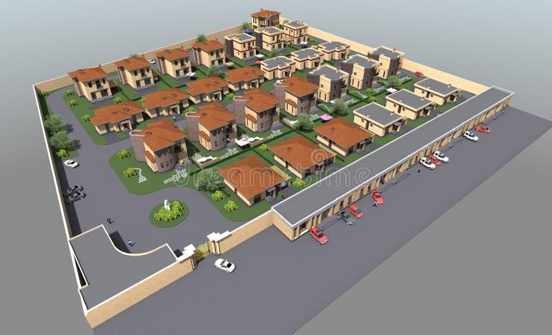 Complexo residencial do plano diretor ilustração stock