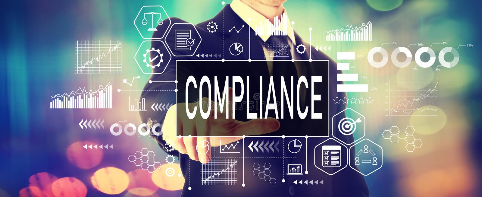 Compliance concept with a businessman. On a shiny background royalty free stock photography