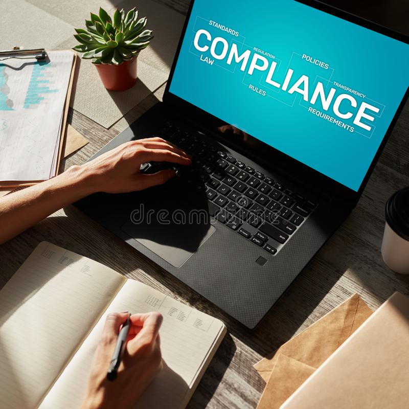 Compliance concept with icons and diagrams. Regulations, law, standards, requirements, audit. Concept on device screen. stock photos