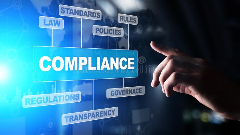 Compliance concept with icons and text. Regulations, law, standards, requirements, audit diagram on virtual screen. stock images
