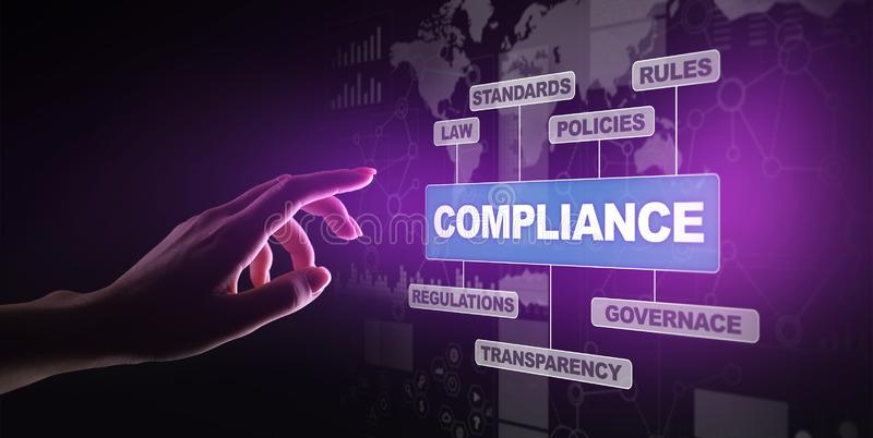 Compliance concept with icons and text. Regulations, law, standards, requirements, audit diagram on virtual screen. Compliance concept with icons and text royalty free stock photos