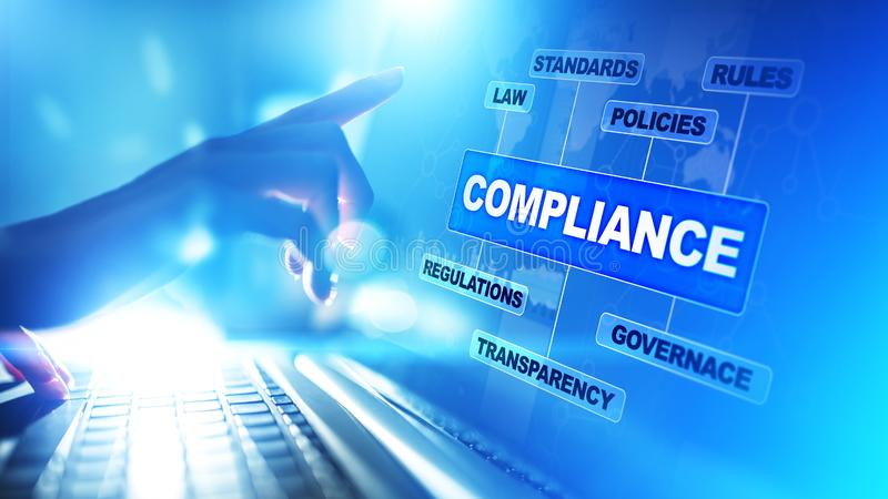 Compliance concept with icons and text. Regulations, law, standards, requirements, audit diagram on virtual screen. Compliance concept with icons and text royalty free stock image