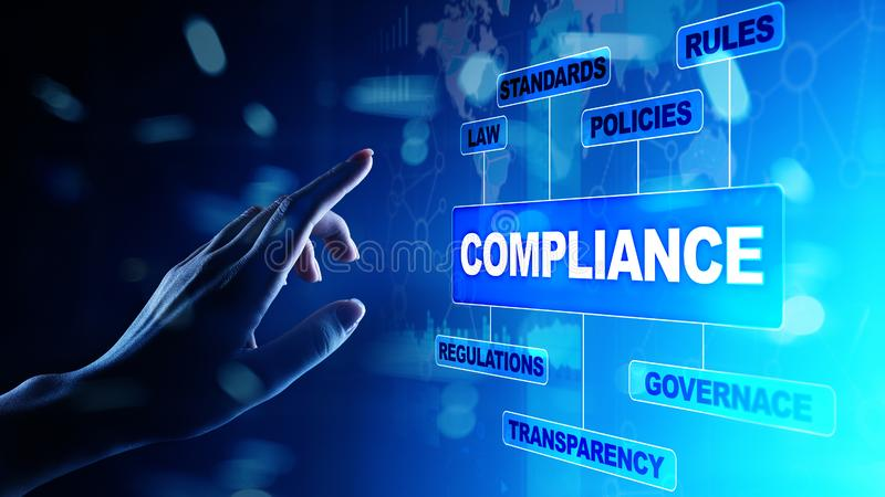 Compliance concept with icons and text. Regulations, law, standards, requirements, audit diagram on virtual screen. Compliance concept with icons and text stock photos