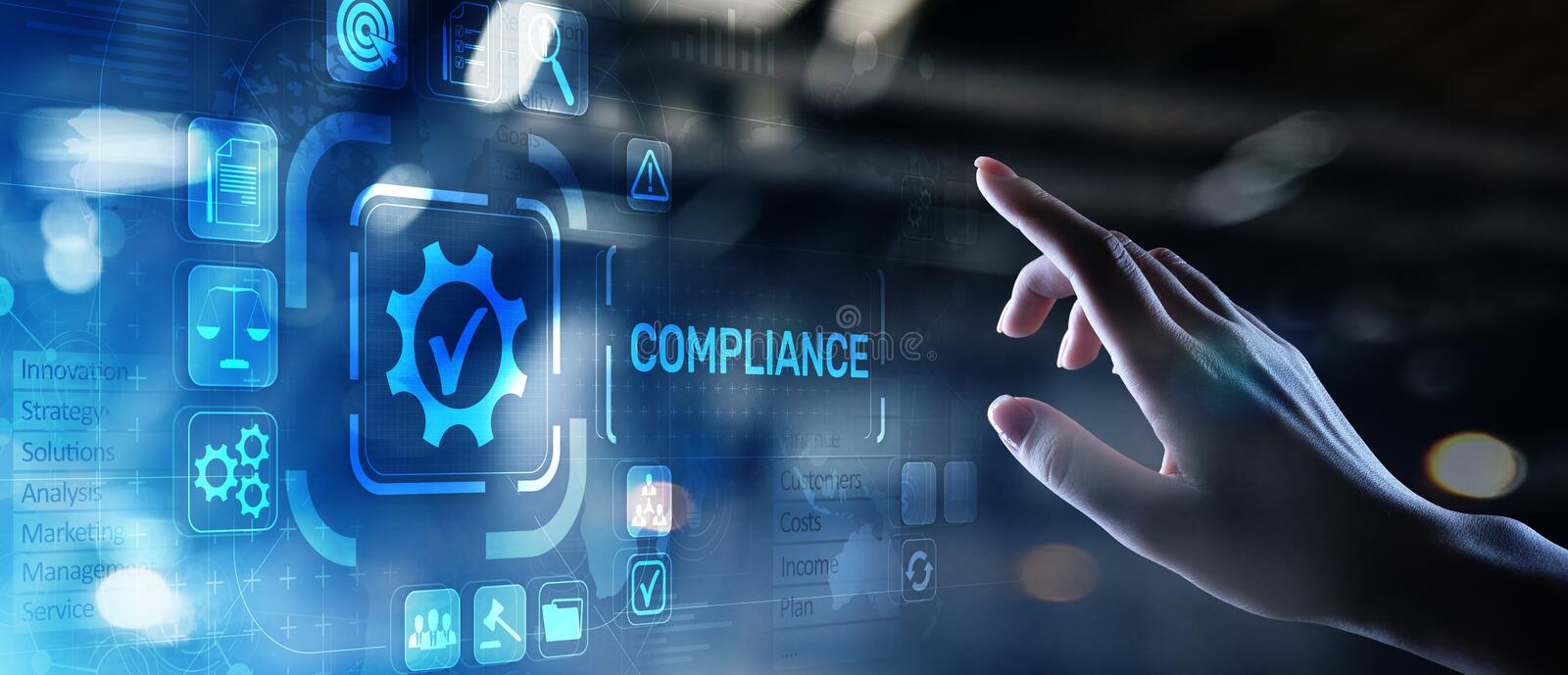 Compliance concept with icons and text. Regulations, law, standards, requirements, audit diagram on virtual screen. Compliance concept with icons and text stock image
