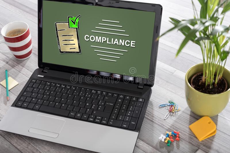 Compliance concept on a laptop stock photo