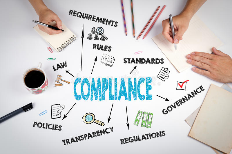 Compliance Concept. The meeting at the white office table stock photography