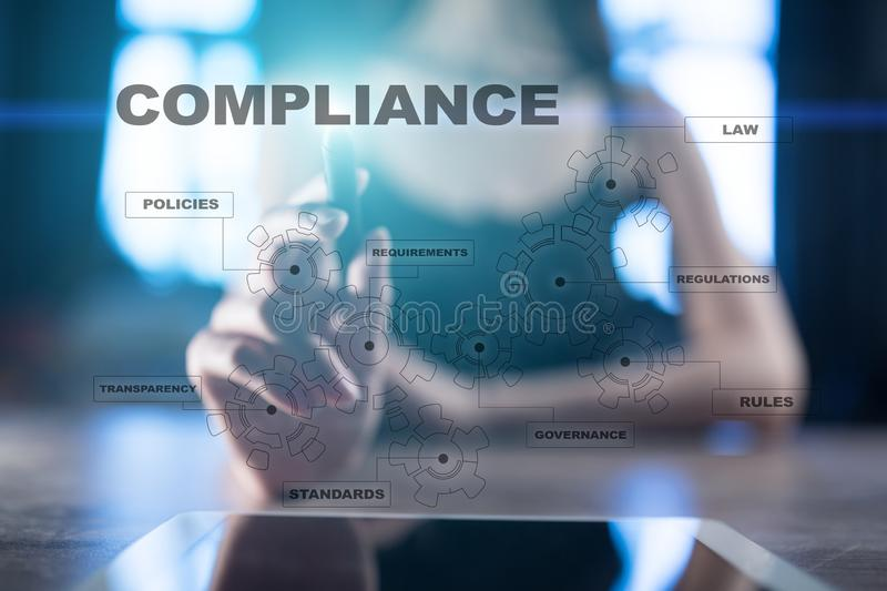 Compliance concept on virtual screen. Policy, Rules, Law Regulation. royalty free stock images