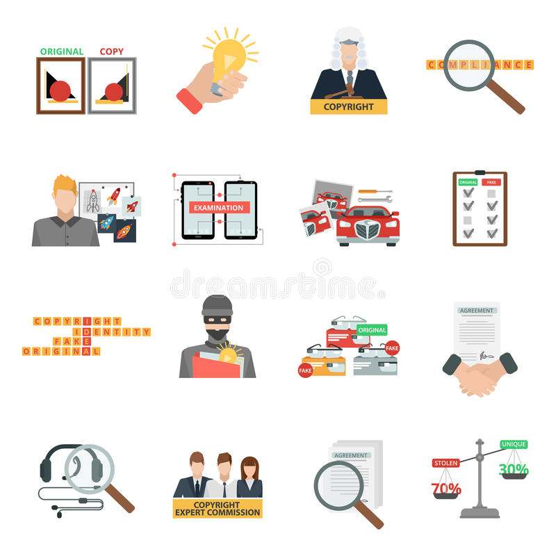 Compliance copyright law flat icons set. Criminal copyright law compliance and intellectual property piracy theft penalties flat icons collection abstract vector illustration