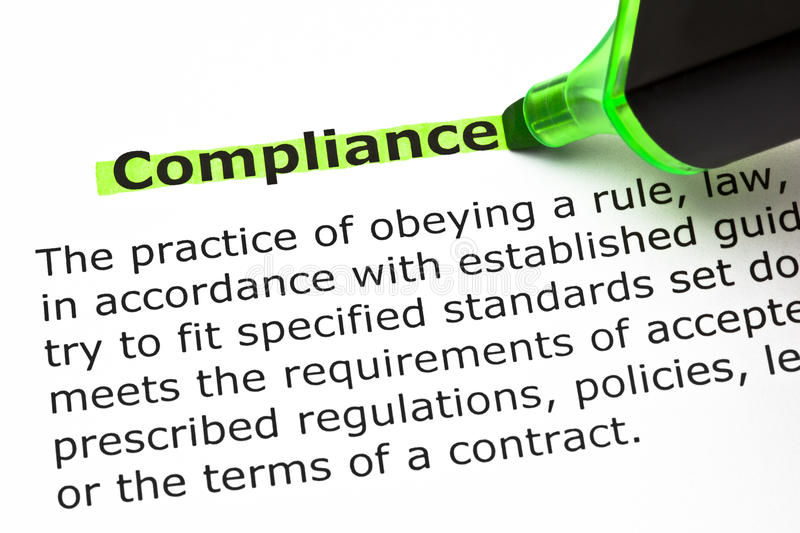Compliance Definition stock image