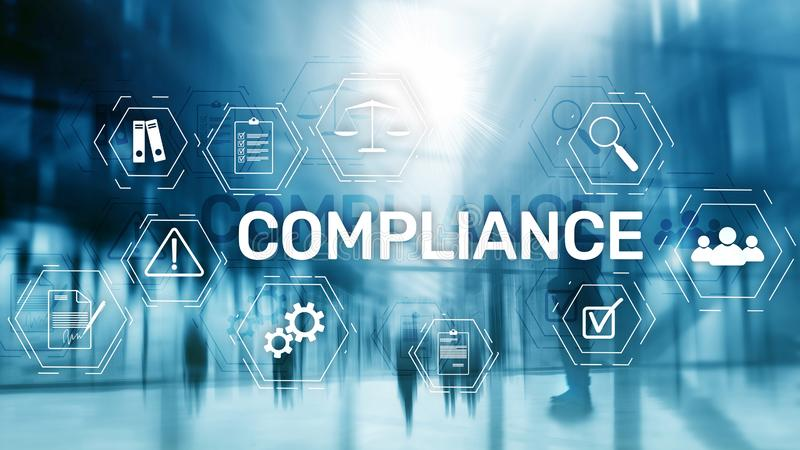 Compliance diagram with icons. Business concept on abstract background.  royalty free stock photography