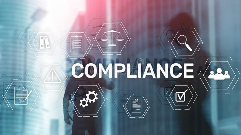 Compliance diagram with icons. Business concept on abstract background royalty free stock image