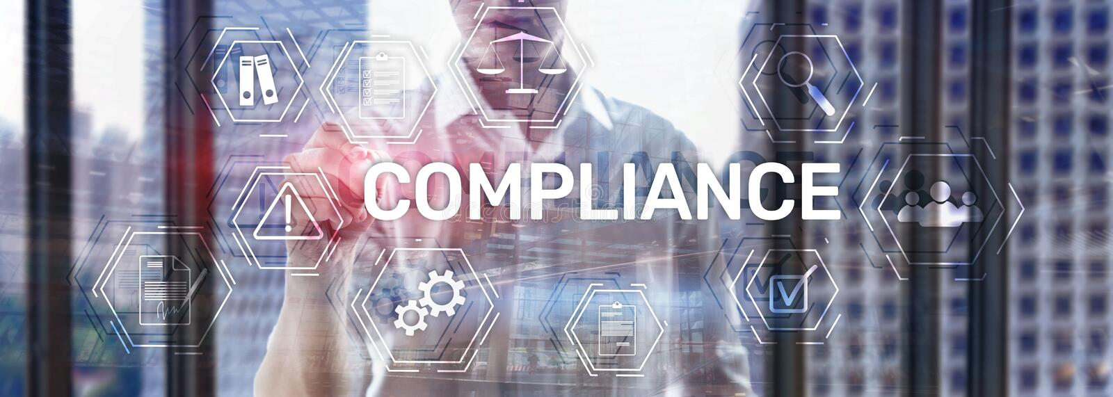 Compliance diagram with icons. Business concept on abstract background. Policy regulation governance law regulatory legal quality regulations policies royalty free stock images