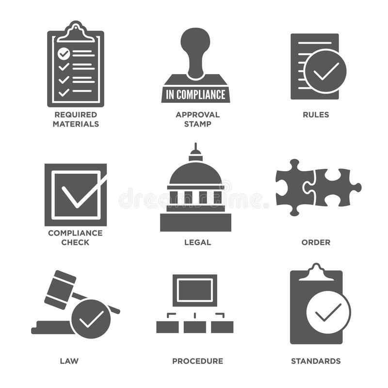 In compliance - icon set that shows company passed inspection royalty free illustration