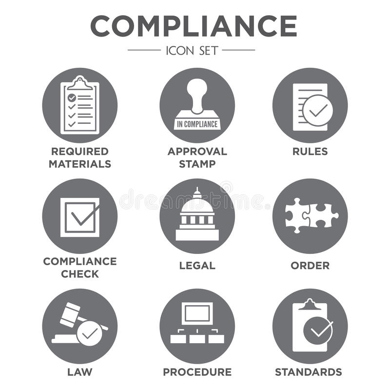 In compliance icon set that shows a company passed inspection vector illustration