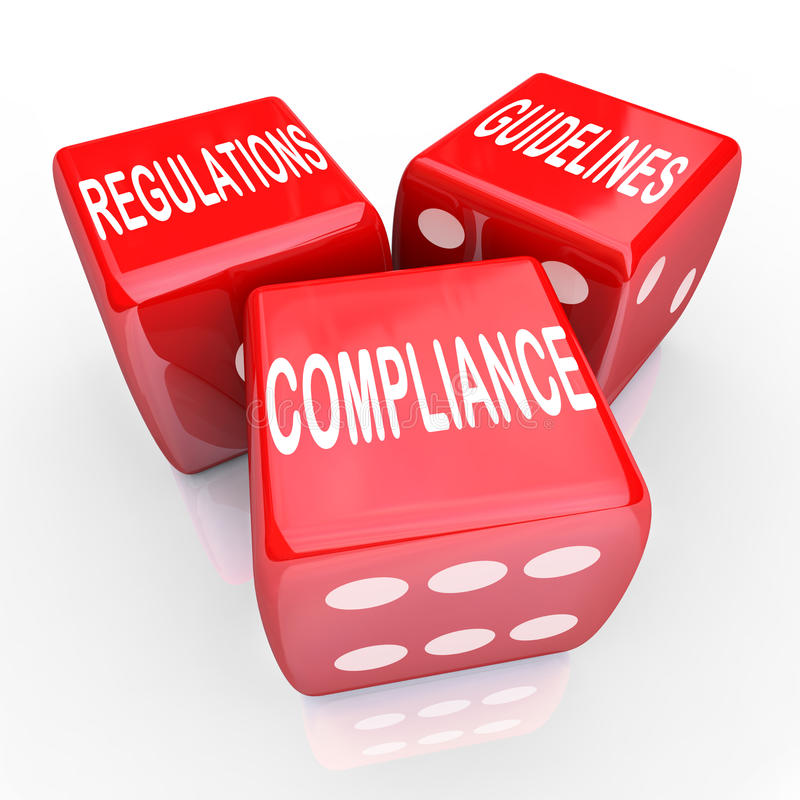 Free Compliance Regulations Guidelines Three Dice Words Stock Photos - 34058693