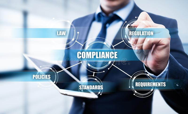 Compliance Rules Law Regulation Policy Business Technology concept.  stock photo
