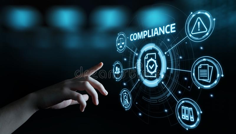 Compliance Rules Law Regulation Policy Business Technology concept stock photo