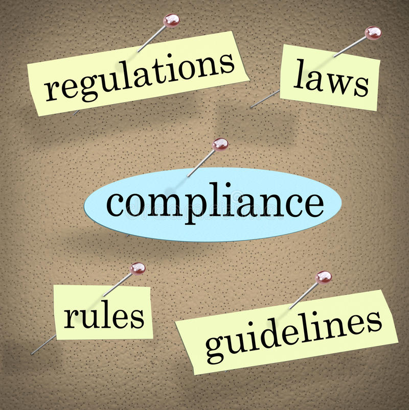 Compliance Rules Regulations Laws Guidelines Bulletin Board. Compliance word pinned to a bulletin board with related words like regulations, rules, laws and vector illustration