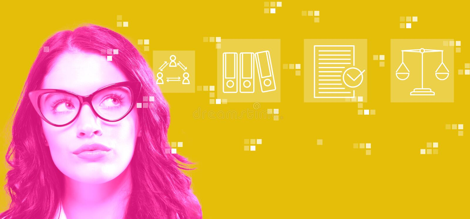 Compliance theme with young businesswoman royalty free stock photo