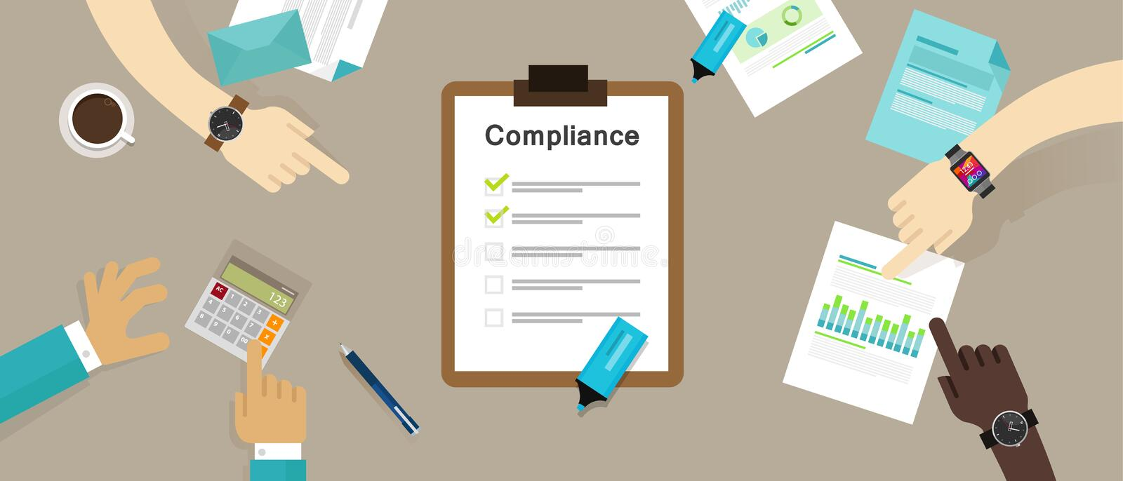 Compliance to regulation process standard industry company royalty free illustration