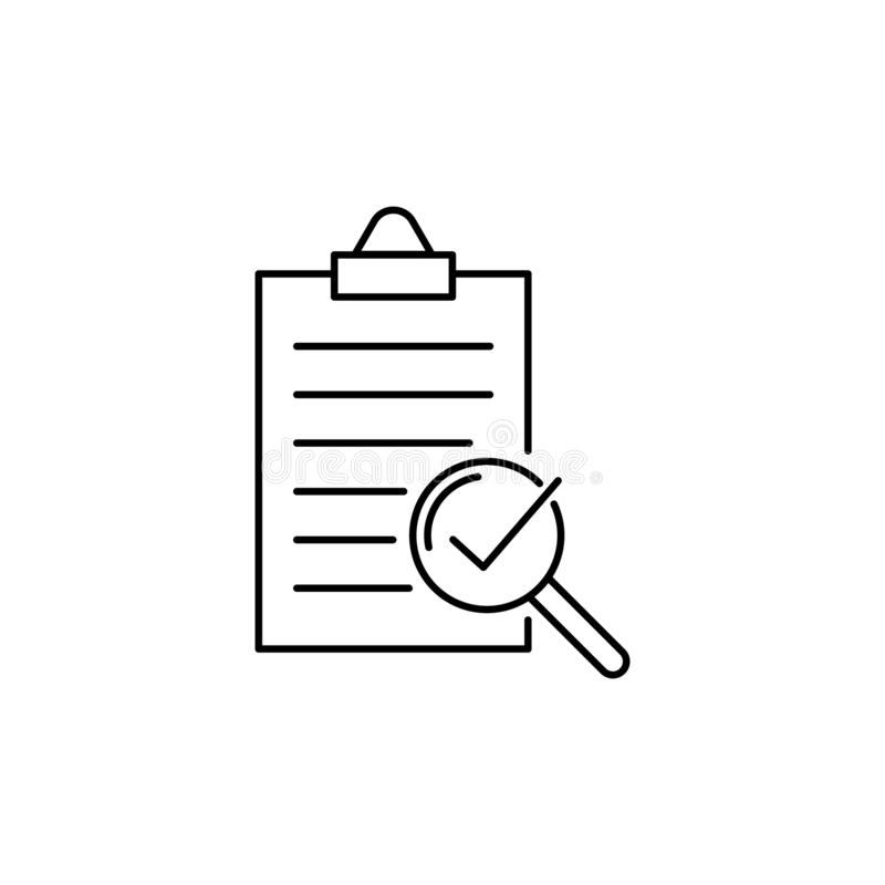 Compliance vector line icon, quality check royalty free illustration