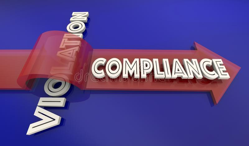Compliance Vs Violation Arrow Over Word Comply Follow Rules 3d I royalty free illustration