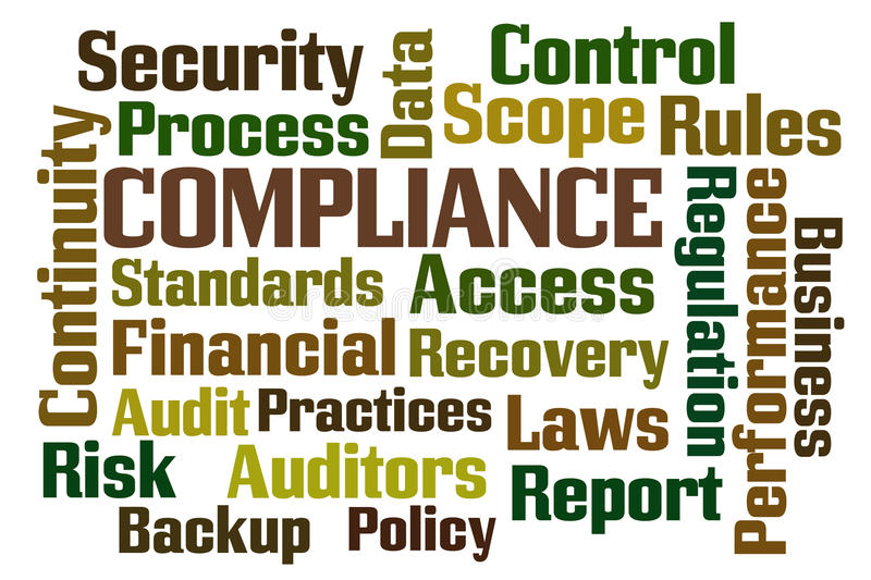 Compliance. Word cloud on white background vector illustration