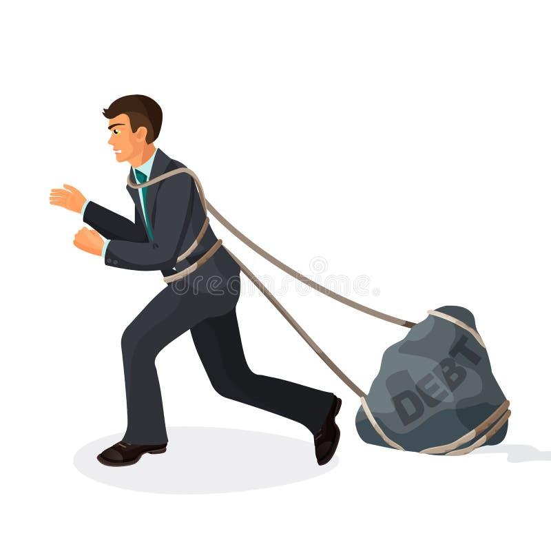 Complicado no homem de negócios das cordas puxa a carga de pedra com débito do nome ilustração do vetor