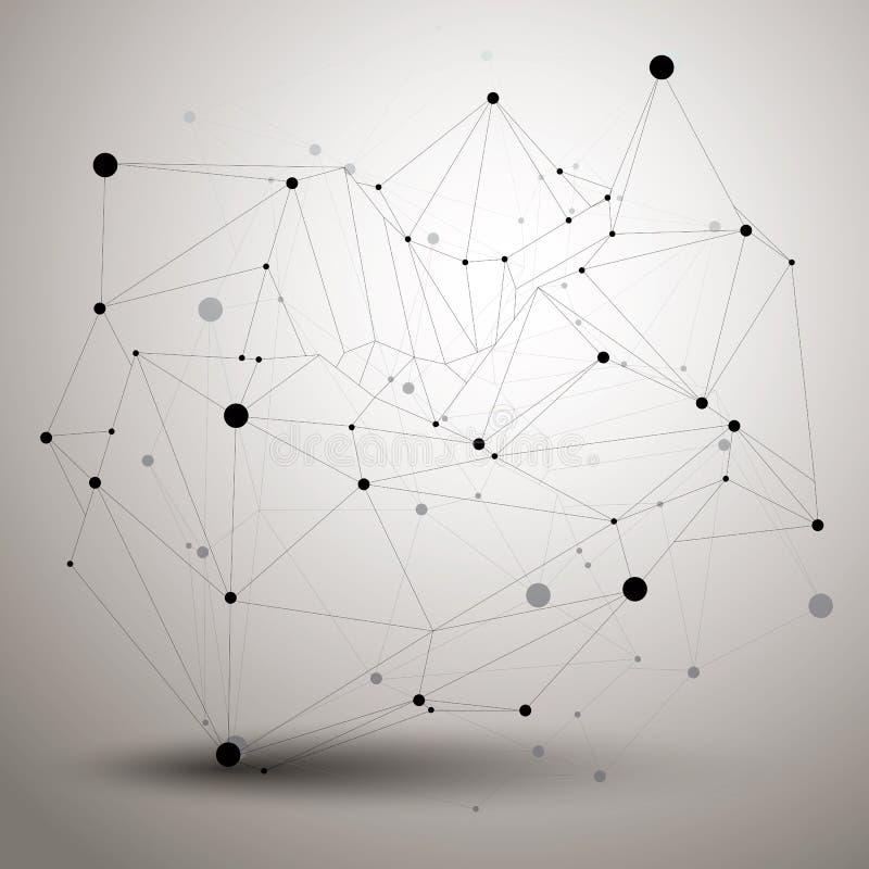 Complicated abstract grayscale 3D shape, vector digital lattice vector illustration