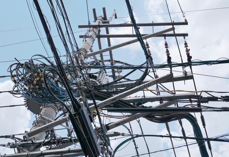 Complicated arrangement Electric wire in Thailand stock photography