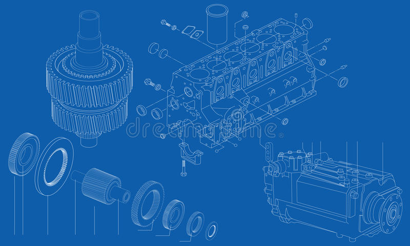 Complicated engineering drawing of car engine sect. Complicated mechanical and engineering drawing of different car engine sections on blue background vector illustration